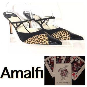 NWOB Amalfi Leopard Patent Leather Slingback Heels